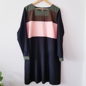 Eloquii Plus Size Colorblock Long Sleeve Dress